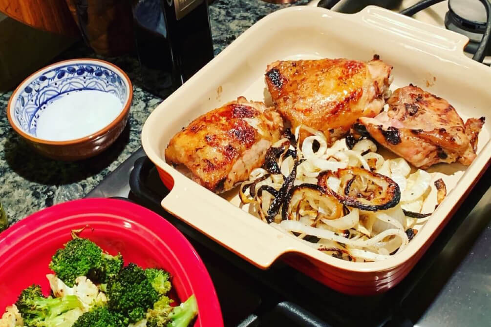 Grilled Chicken Thighs and Veggies…with a Bite